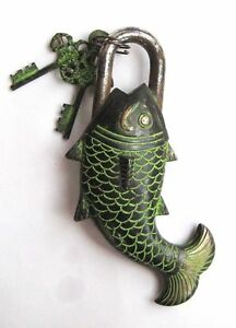 FISH LOCK Padlock brass key Puzzle antique look Trick Good Luck buddha india