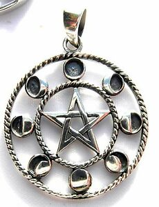 Sterling  Silver  (925)  Pentagram  And  Moon  Phases  Pendant  !!      New !!