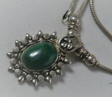 """Bali Styled 18"""" Sterling Silver Malachite Oval Fixed Pendant Necklace"""