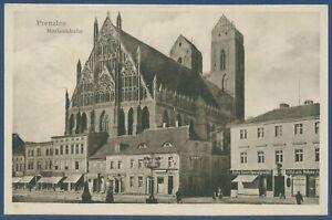 Prenzlau Königstraße mit Marienkirche Geschäfte, gelaufen 1929 (AK3934)