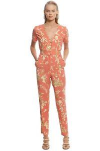 SIR the Label Florentine Panelled Jumpsuit in Orange Size 10