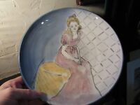 "Vintage Large 12.25""  HAND Thrown & PAINTED FRENCH GIRL Stoneware Bowl Signed"