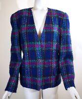 Talbots Women's Plaid Lined Career Blazer Suit Jacket, Purple/Pink/Multi, Sz. 12