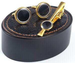 CUFFLINKS GOLD BLACK SHIRT CUFF LINKS TIE PIN CLIP SET BESTMAN WEDDING BNIB G14