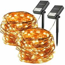 2Pack 100LED Solar Fairy String Light Copper Wire Outdoor Waterproof Garden Deco