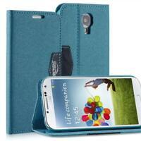 Livre Coque Pour Samsung Galaxy S4 Anthracite Bleu Fermeture Magnétique Étui Neu