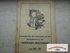 Manuel d'utilisation/Liste pièces détachées pour Bernard Moteur W.19 Original