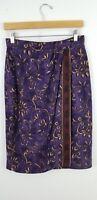 Dana Buchman Wrap Skirt size M Straight Below Knee 100% Silk Plum Purple Paisley