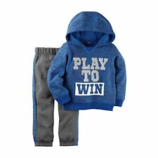 Carter's Boys Blue Terry Hoodie Play to Win & Gray Jogger Pants 2pc Set NWT $24