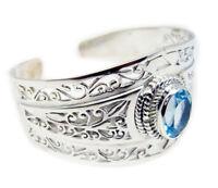 elegant Blue Topaz 925 Sterling Silver Blue Bracelet genuine Designer US gift