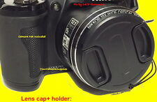 SNAP-ON LENS CAP To CAMERA PANASONIC LUMIX DMC-FZ150 FZ150K FZ100 FZ100K +HOLDER