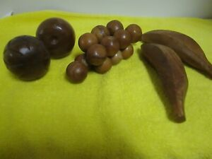 Vintage Hand Carved WOODEN MIXED FRUIT- Lot of 6 Pieces- NEW