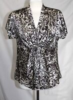 Anne Klein - 8 (M) - NWOT -Brown & Ivory Abstract Paisley Print 100% Silk Blouse