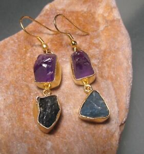 14K Gold plated brass 8gr rough apatite/amethyst earrings. Gift bag.
