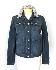 NWT Forever 21 Dark Denim Stretch Cotton Jean Jacket Glam Silver Beaded Collar S