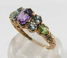 BIG 9CT 9K GOLD AMETHYST PERIDOT BLUE TOPAZ VINTAGE INS RING FREE RESIZE