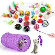 25pcs Cat Toy Tunnel Kitten Ball Teaser Wand Interactive Feather Catnip Toy