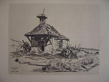 AMMERSCHWIHR Chapelle et Canon antichar Superbe dessin de Robert Gall en 1945