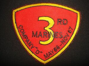 Vietnam War Patch, USMC 3rd Marines Company D MAY 66 - NOV 67