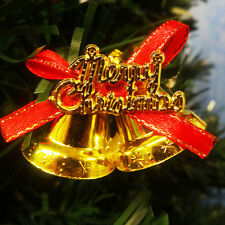 DOUBLE BELLS CHRISTMAS XMAS TREE DECORATIONS GOLD AND RED PACK OF 18