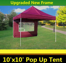 10'x10' Pop Up Canopy Party Tent - Maroon - F Model Upgraded Frame