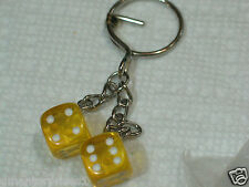 Dice Keychain Key Fob (#137) yellow (also have in other colors)