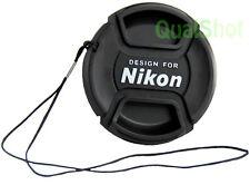58mm Front Center Pinch Cap w/Leash For Nikon Lens 58