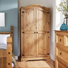 Corona Pine Wardrobe 2 Door Hanging Rail Shelf Solid Wood Waxed Bedroom