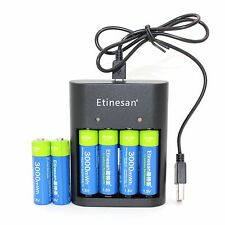 6pc 1.5v 3000mWh rechargeable Lithium polymer AA battery + 4 PORT AA AAA Charger