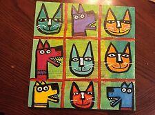 Original Tracey Ann Finley Tic Tax Dog Cat Outsider Folk Painting