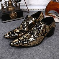Mens England style gold business dress shoes lace-up leather formal shoes size 8