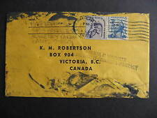 USA to Canada very damaged cover stamped with Damaged in Mail at Vancouver