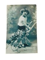 Vintage Real Photo Post Card Pretty French Girl & a Wheelbarrow of Flowers 1910s