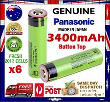 6x Panasonic NCR 18650 B 3400mAh Li-Ion Rechargeable Battery GENUINE Button Top