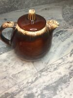 Vtg Hull Pottery Chestnut Brown Drip Ceramic Glaze Teapot. 60s Retro Mid Century