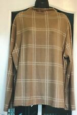 Marks & Spencer Ladies Crew Neck,Soft Touch Beige Check Top/Jumper-Size 22 BNWT