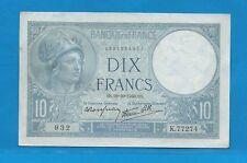 10 FRANCS Bleu ( MINERVE ) du 10-10-1940  K.77274 Billet N° 1931834932