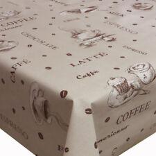 Wachstuch Tischdecke Kaffee Robust Beige Größe wählbar abwaschbar Tischtuch