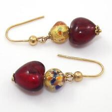 14K Yellow Gold Murano Foil Glass Dangle Heart Earrings QX