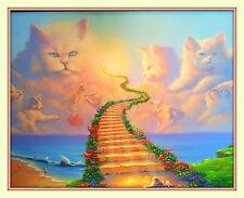 Rainbow Bridge All Cats Go to Heaven 11x14 Matd 8x10 Print Pet Sympathy Memorial