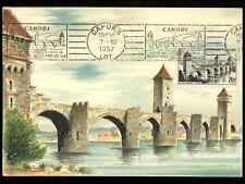 Postal History France Sc #839 Maximum Postcard Le Pont Valentre Bridge 1957 Seal
