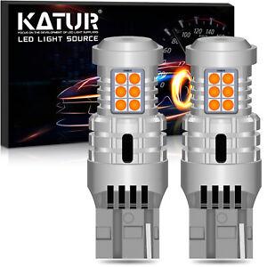 KaTur 2x 7440 W21W LED Turn Signal Light Yellow Canbus No Hyper Flash Error Free