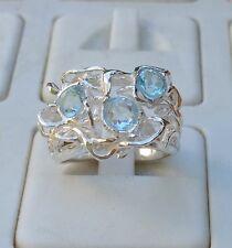 Blue Topaz Silver Ring ,Handmade Gemstones ring ,Statement Ring ,Birthston Ring