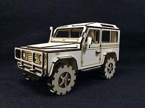 Laser Cut Wooden Land Rover Short Wheel Base 3D Model/Puzzle Kit
