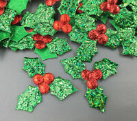 100pcs Holly Berries and leaves Appliques Christmas Decoration 36mm