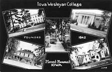 Mount Pleasant Iowa views of Iowa Wesleyan College real photo pc Z12599