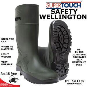 SAFETY WELLINGTON BOOTS,WELLY, LIGHT WEIGHT, FARM GREEN,PU PUROFORT