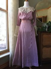 Edwardian Dress Lavender Embroidered Tambour Lace Gown Antique Lawn Tea 1910s