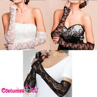 Ladies Gloves Fingerless 1980 70s 80s Womens Lace Party Dance Costume Accessory