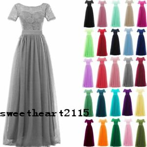 Long Chiffon Lace Evening Formal Party Ball Gown Prom Bridesmaid Dress Size 6-28